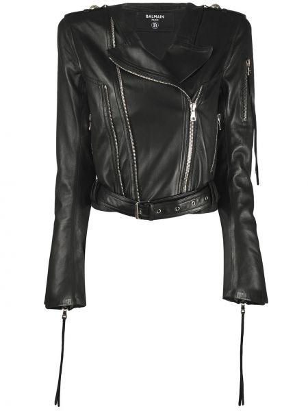 Куртка черная байкерская Balmain