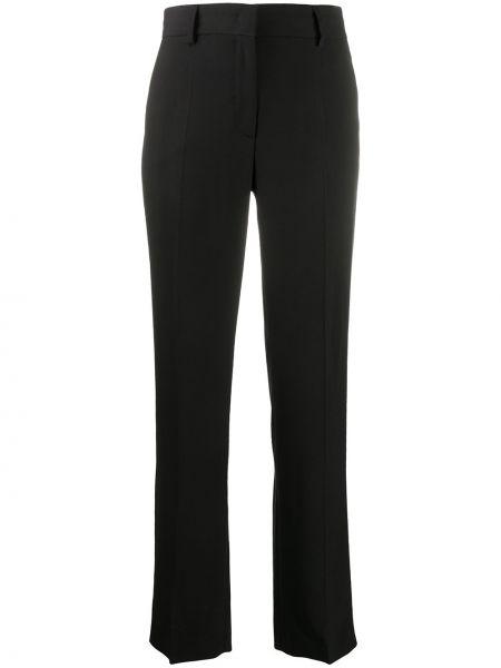 Черные прямые брюки с высокой посадкой из вискозы Alberta Ferretti