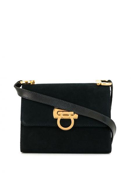 Золотистая синяя сумка через плечо с декоративной отделкой с карманами Salvatore Ferragamo Pre-owned
