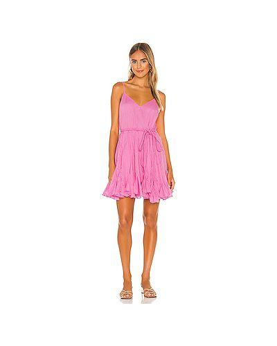 Текстильное мягкое розовое платье мини на бретелях Rhode