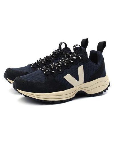 Комбинированные синие кожаные кроссовки Veja
