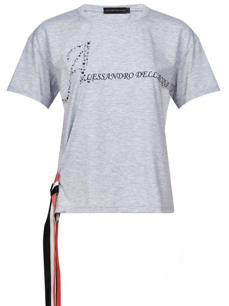 Хлопковая серая футбольная футболка Alessandro Dell'acqua