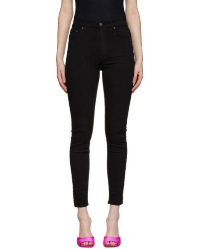 Зауженные черные джинсы-скинни стрейч с заплатками Grlfrnd