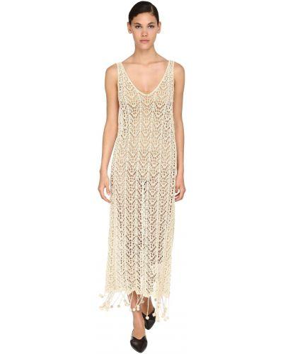 Платье макси длинное - бежевое Jil Sander