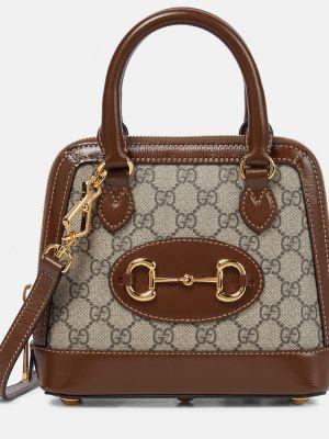 Bawełna brązowy skórzany torba na ramię Gucci