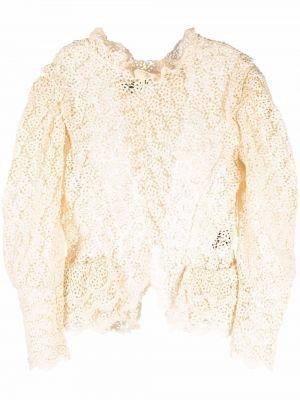 Bluzka koronkowa z długimi rękawami - biała Isabel Marant