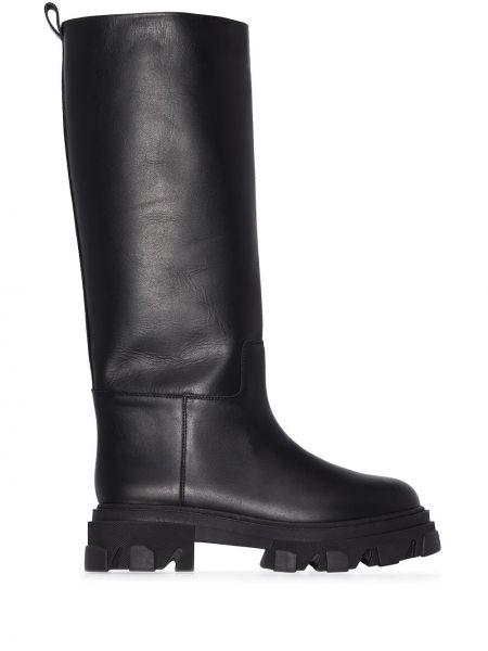 Кожаные ботильоны - черные Gia Couture
