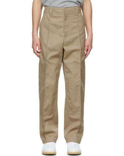Beżowe spodnie skorzane z paskiem Acne Studios