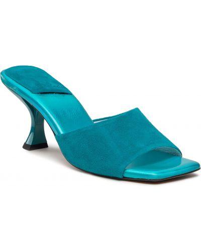 Sandały skórzane eleganckie - niebieskie R.polański