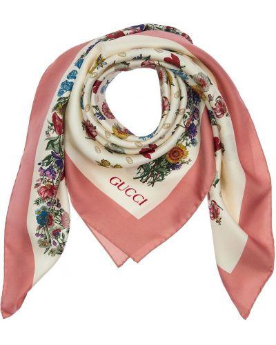 Szalik z jedwabiu w kwiaty z printem Gucci