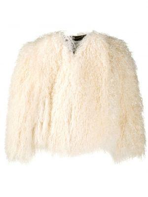 Белая длинная шуба из овчины оверсайз Saint Laurent
