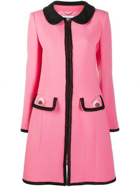 Расклешенное розовое длинное пальто букле Moschino