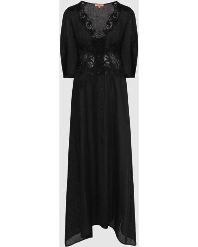 Льняное черное платье миди Ermanno Scervino