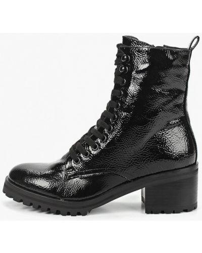 Ботинки на каблуке кожаные черные Topshop