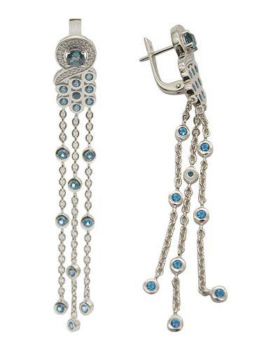 Серебряные серьги с топазом удлиненные митра ювелир