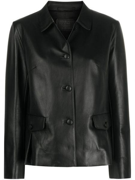 Кожаная куртка черная на пуговицах Prada