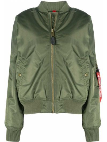 Нейлоновая зеленая длинная куртка с манжетами с воротником Alpha Industries