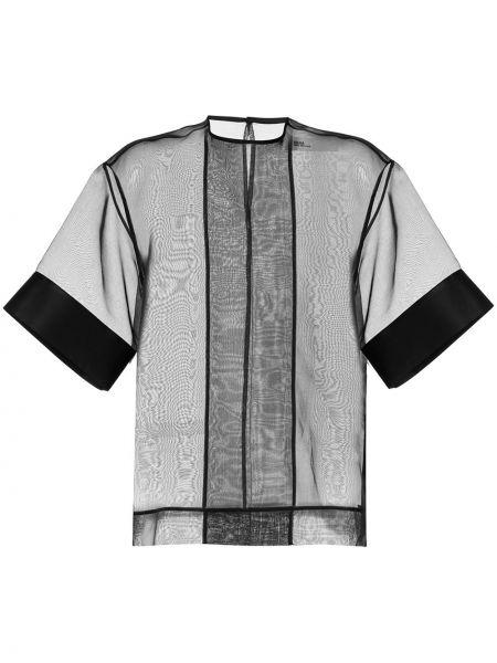 Czarna bluzka krótki rękaw z siateczką Toga