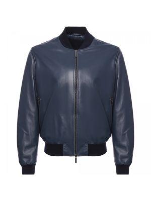 Текстильная синяя кожаная куртка Moreschi
