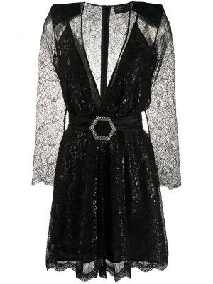 Хлопковое кружевное черное платье мини Philipp Plein