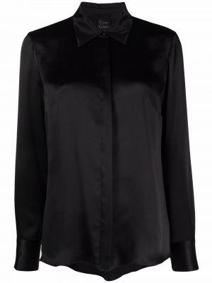 Шелковая черная рубашка с длинным рукавом на пуговицах Carine Gilson