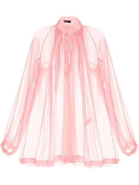 Свободная розовая блузка с длинным рукавом с манжетами Kitx