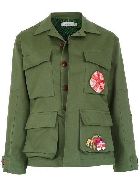 Классическая зеленая свободная куртка с воротником Isolda