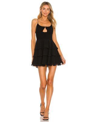 Шифоновое черное платье мини с оборками Michael Costello