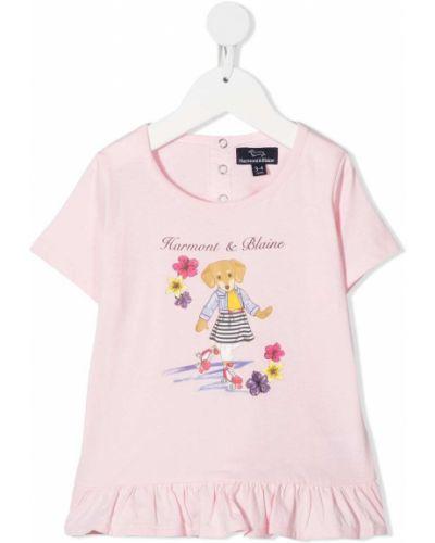 Ватная хлопковая светло-розовая футболка с короткими рукавами Harmont & Blaine Junior