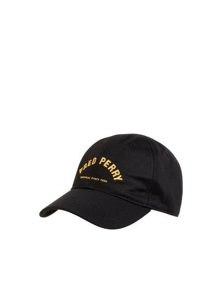 Czarna czapka z daszkiem bawełniana Fred Perry