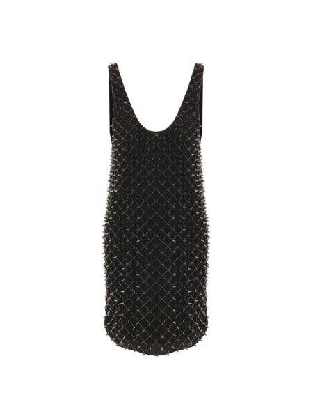 Платье с бисером шелковое Balmain