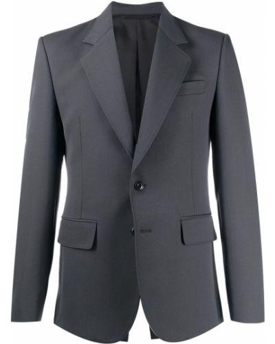 Шерстяной однобортный удлиненный пиджак с карманами Lemaire