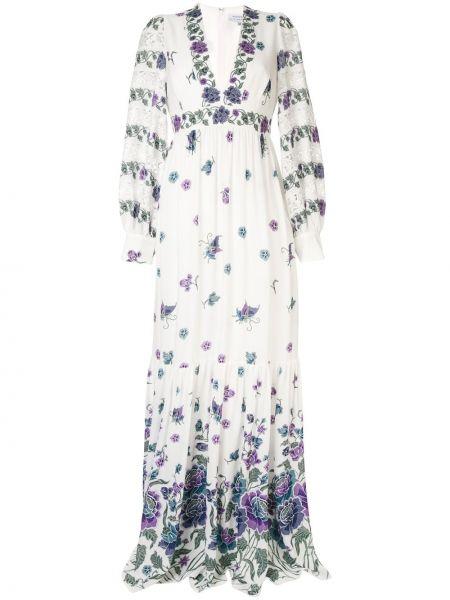 Белое шелковое вязаное платье макси на молнии Andrew Gn