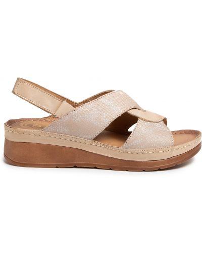 Босоножки на каблуке - бежевые Waldi