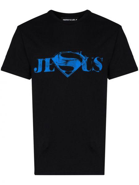 Czarny t-shirt bawełniany Mowalola