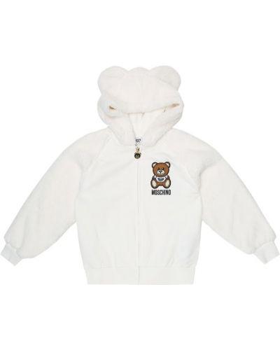 Bawełna bawełna biały bluza z kapturem rozciągać Moschino Kids