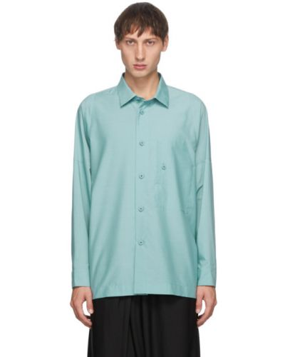 Синяя рубашка с воротником с манжетами с карманами 132 5. Issey Miyake
