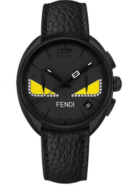 Skórzany czarny zegarek z klamrą na przyciskach Fendi