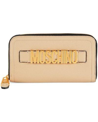 Кожаный кошелек - бежевый Moschino