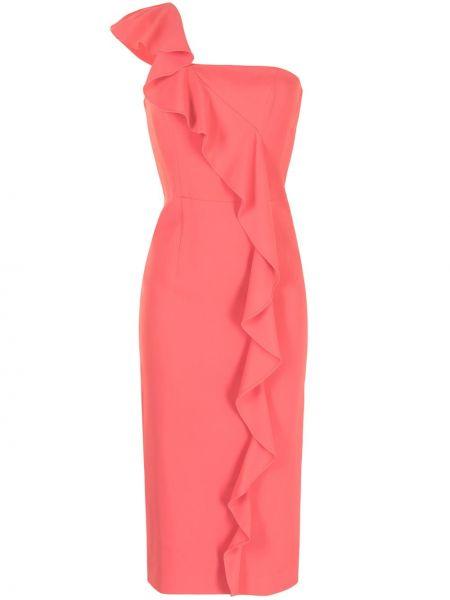 Прямое розовое платье миди с оборками Ginger & Smart