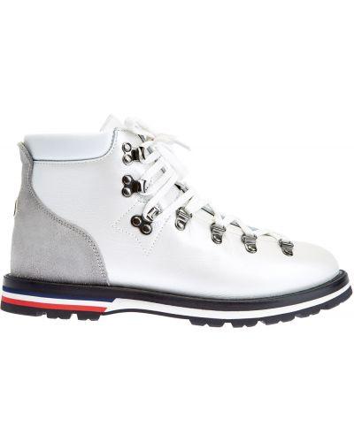 Кожаные ботинки на шнуровке с сеткой Moncler
