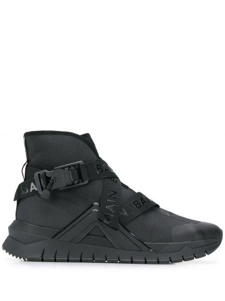 Wysoki sneakersy skórzane z ozdobnym wykończeniem Balmain