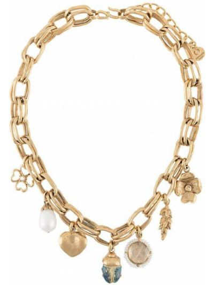 Złoty naszyjnik perły pozłacany Goossens
