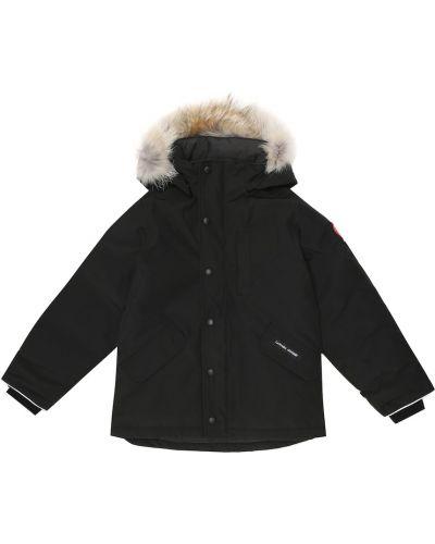 Bawełna puchaty czarny zimowa kurtka przycięte Canada Goose Kids