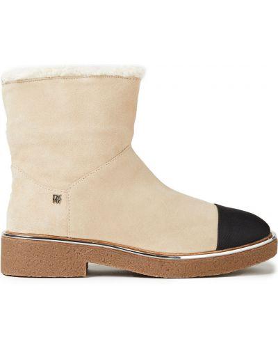 Бежевые кожаные ботинки круглые Dkny
