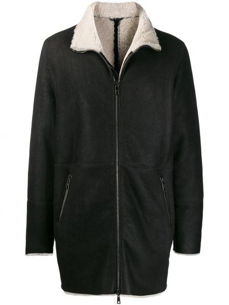Czarny płaszcz skórzany z długimi rękawami Giorgio Brato