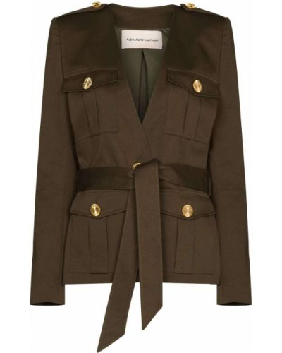 Зеленый пиджак с накладными карманами с заплатками Alexandre Vauthier