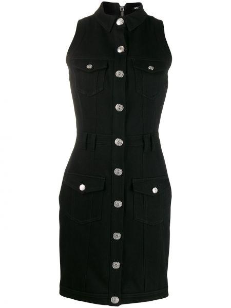 Деловое черное джинсовое платье без рукавов Balmain