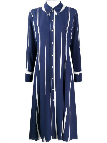 С рукавами шелковое синее платье макси Paul Smith