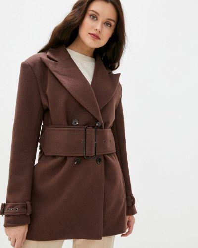 Коричневое пальто двубортное B.style